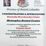 2014 Favourite Dentist, Burnaby NewsLeader