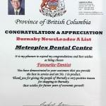 2014 Favourite Dentist, Burnaby NewsLeader